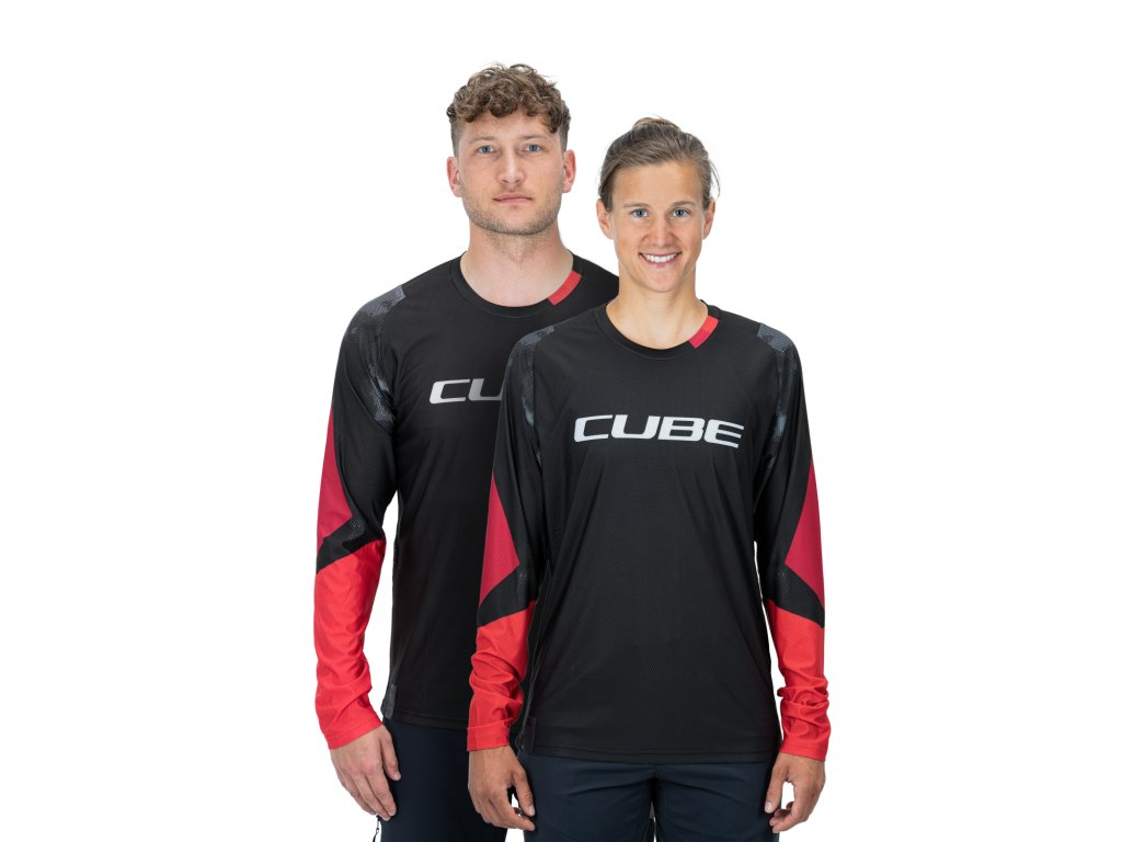 dres CUBE EDGE ROUND NECK JERSEY L/S black/red