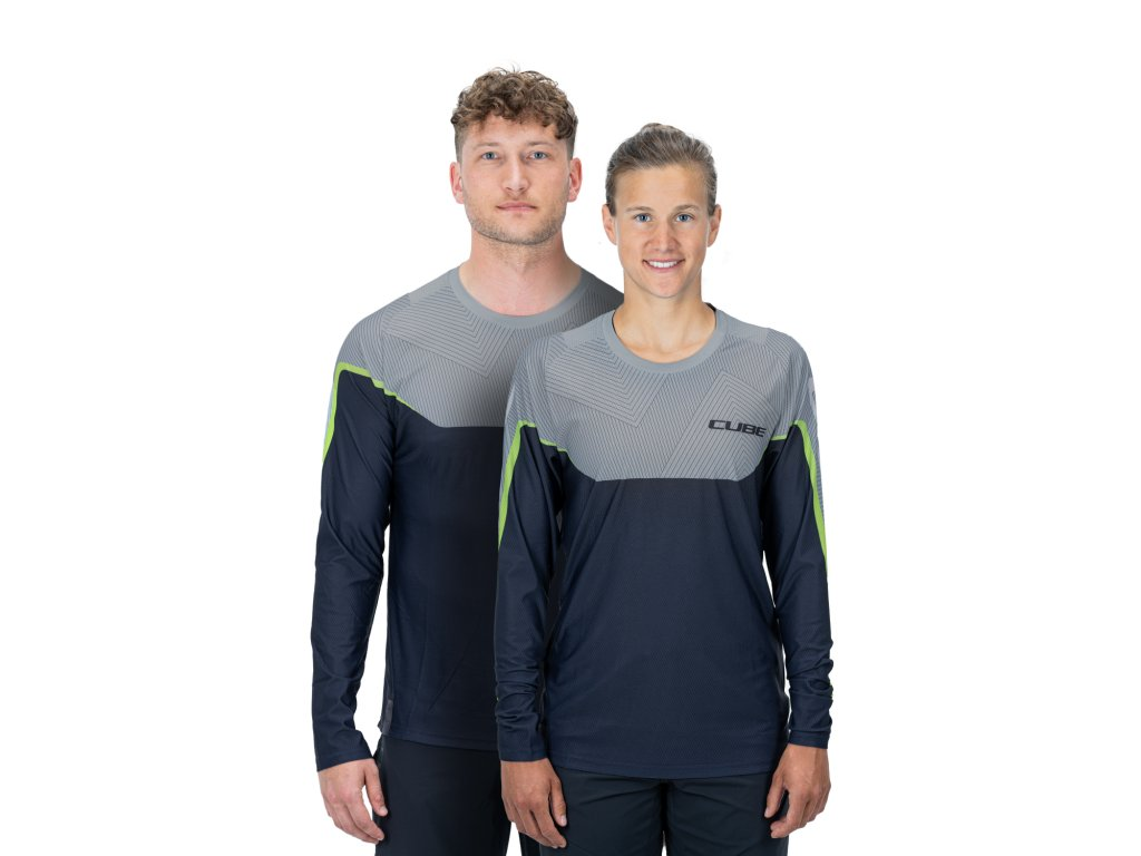 dres CUBE EDGE ROUND NECK JERSEY L/S grey/lime