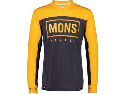 Merino dres s dlouhým rukávem Mons Royale REDWOOD ENDURO VLS gold / 9 iron