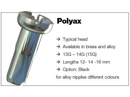 Sapim nipl Polyax stříbrný Alu 2x12mm