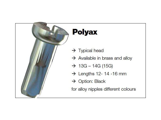 Sapim nipl Polyax stříbrný mosaz 2x12mm