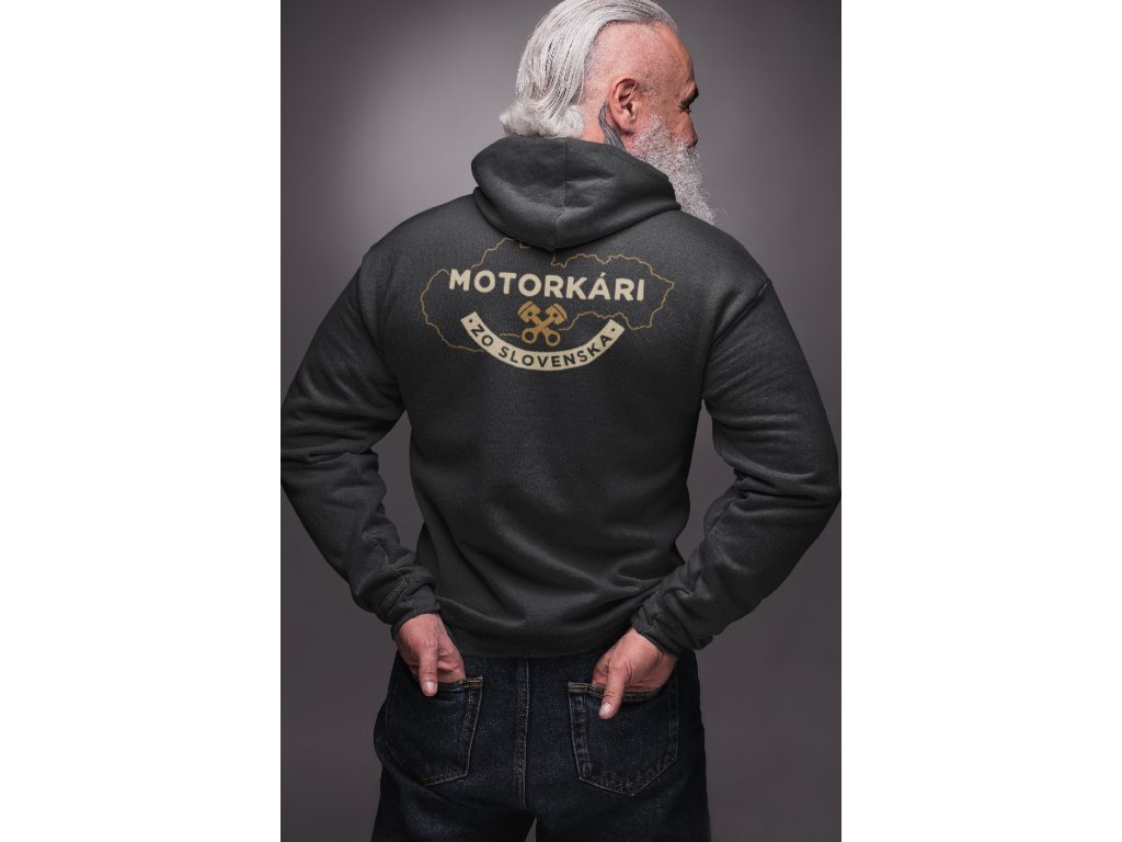 hoodie mockup in back view featuring a senior muscular man in photo studio 23368