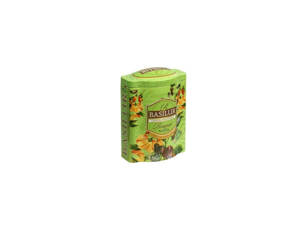 Basilur Bouquet Green Freshness Zelený sypaný čaj plech 100g