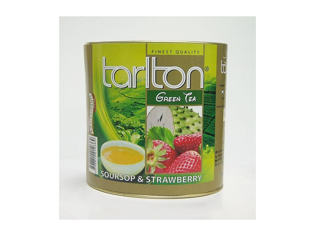 Tarlton Green Soursop & Strawberry Zelený sypaný čaj aromatizovaný dóza 100g
