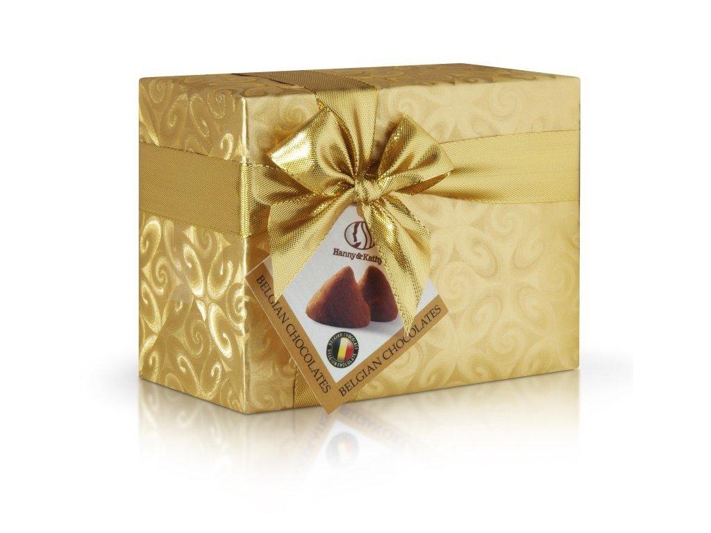 Hanny & Kathy belgické čokoládové lanýže ve zlatém přebale s mašlí 200g