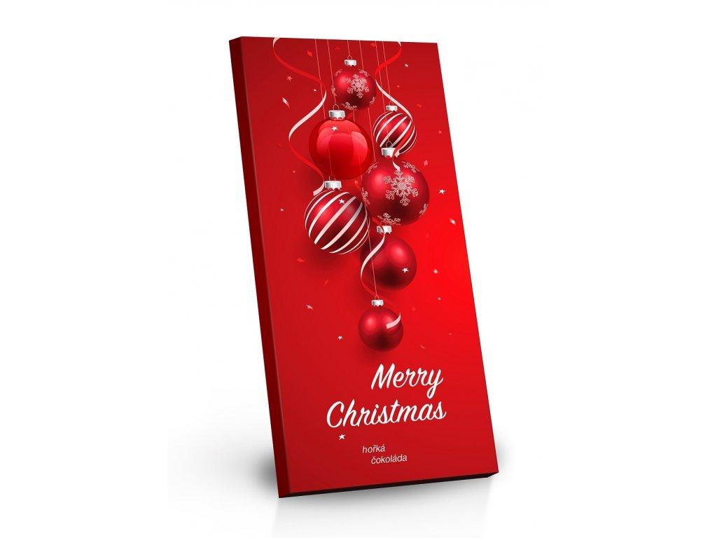 Hořká čokoláda 72% Veselé Vánoce červený design 100g