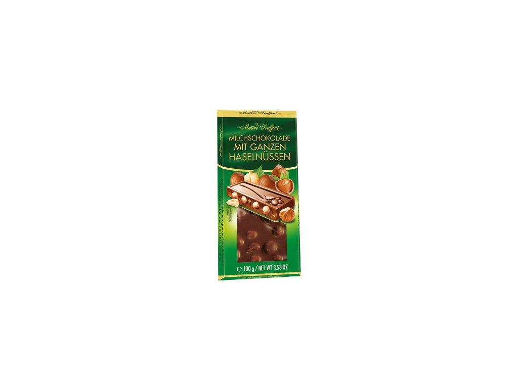Maitre Truffout Mléčná čokoláda s celými lískovými oříšky 100g
