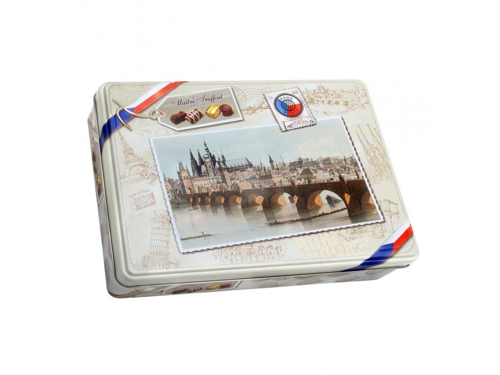 Maitre Truffout čokoládové pralinky Praha plechová dóza 180g