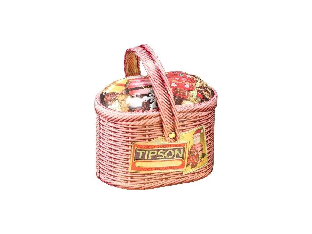 Tipson Basket Christmas Černý sypaný čaj v plechovém košíčku 100g