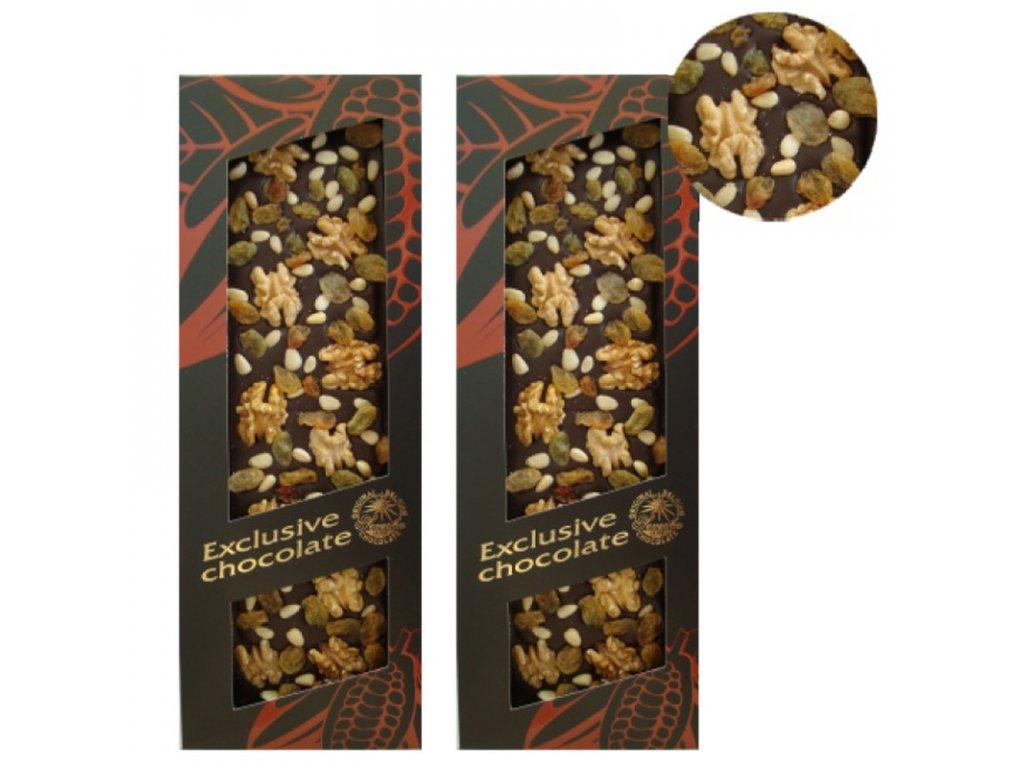 Mléčná čokoláda s vlašskými ořechy, piniovými oříšky a rozinkami 120g