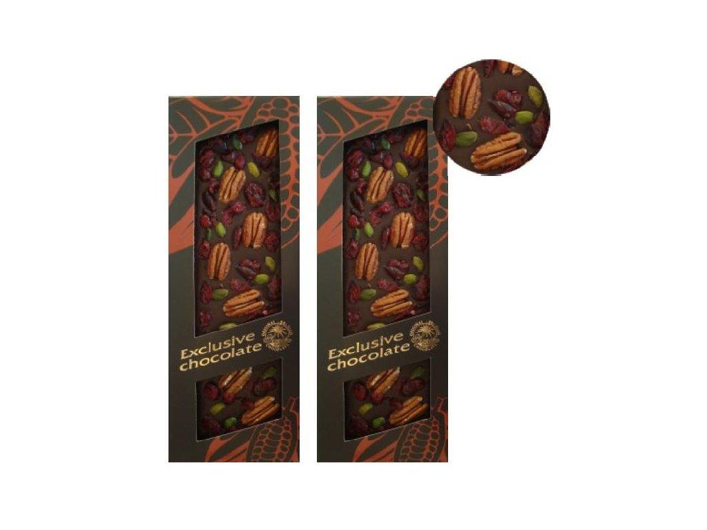 Hořká čokoláda s pekanovými ořechy, pistácií a brusinkami 120g