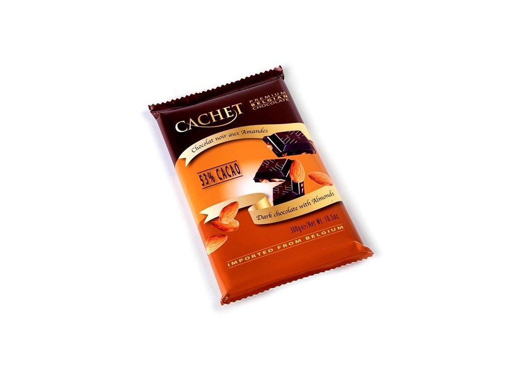Cachet hořká čokoláda s mandlemi 300g