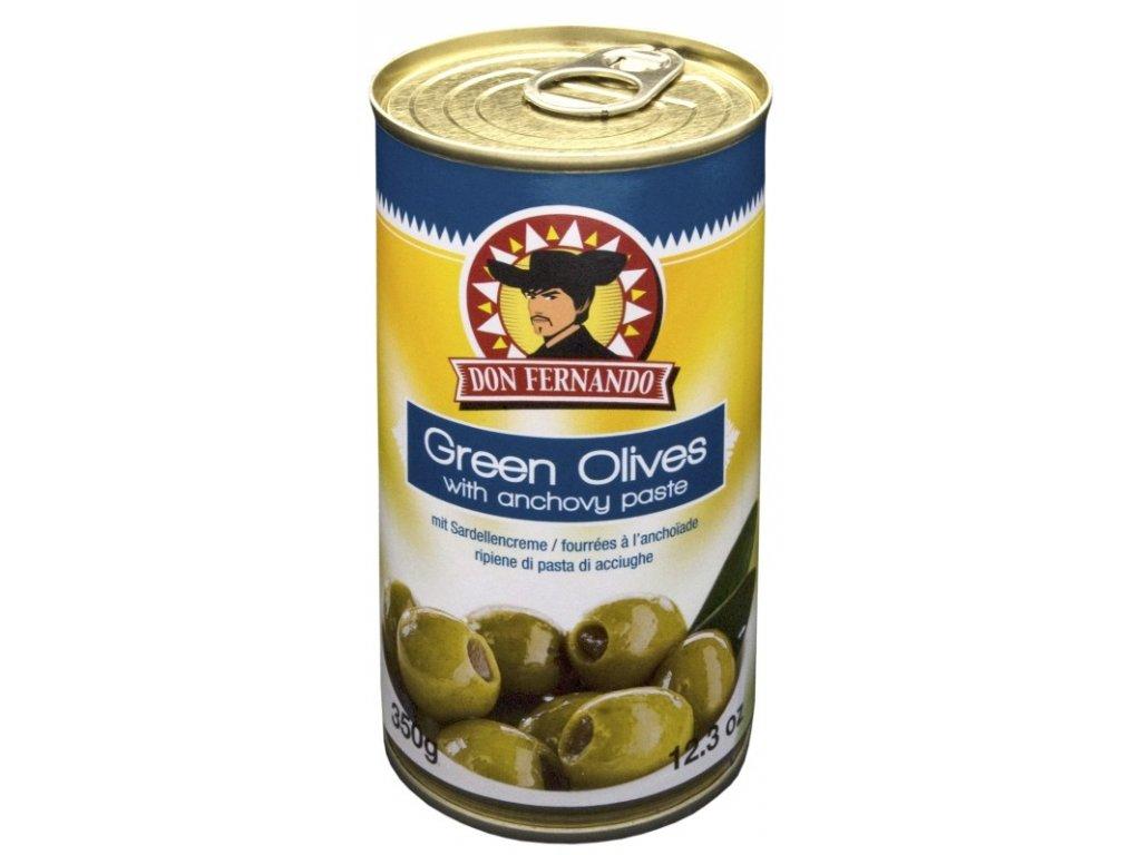 Don Fernando zelené olivy plněné ančovcičkami 350 ml