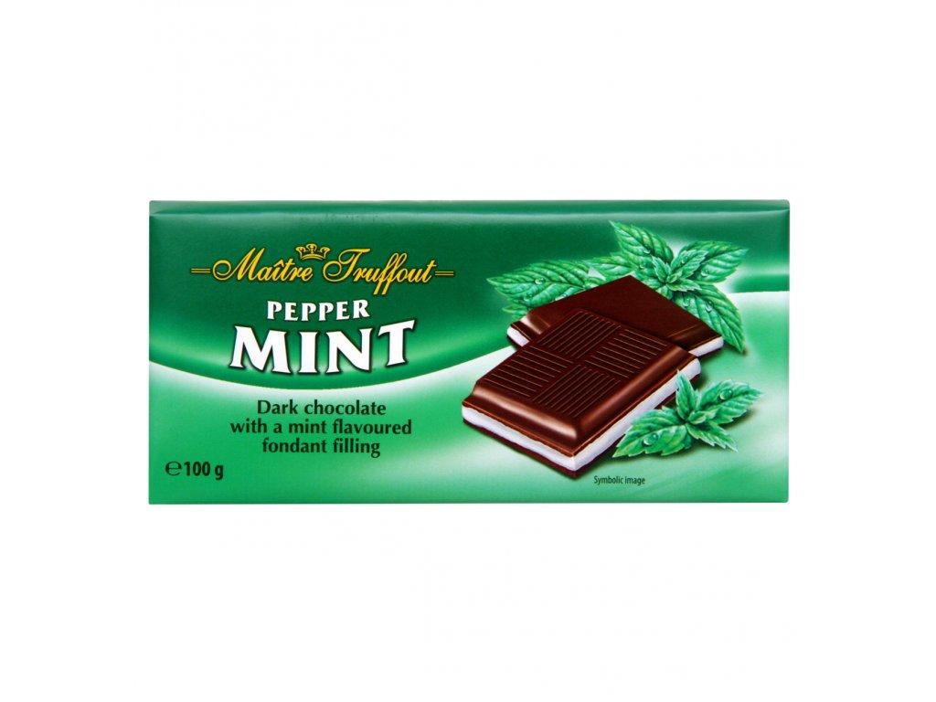 Maitre Truffout čokoláda hořká s mátovou náplní 100g