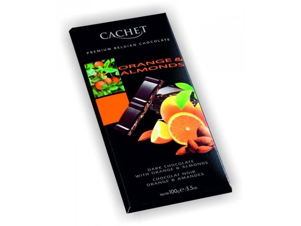 Hořká čokoláda 57% s mandlemi a pomerančem 100g