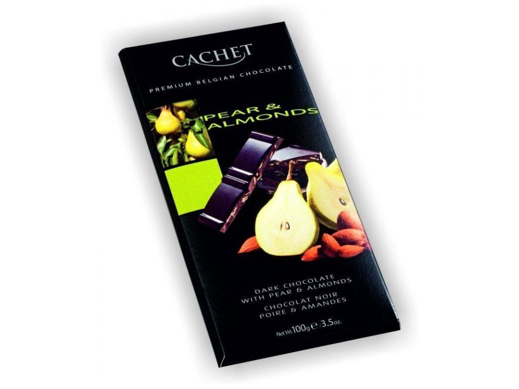 Cachet belgická hořká čokoláda 57% s kousky hrušky a mandlí 100g