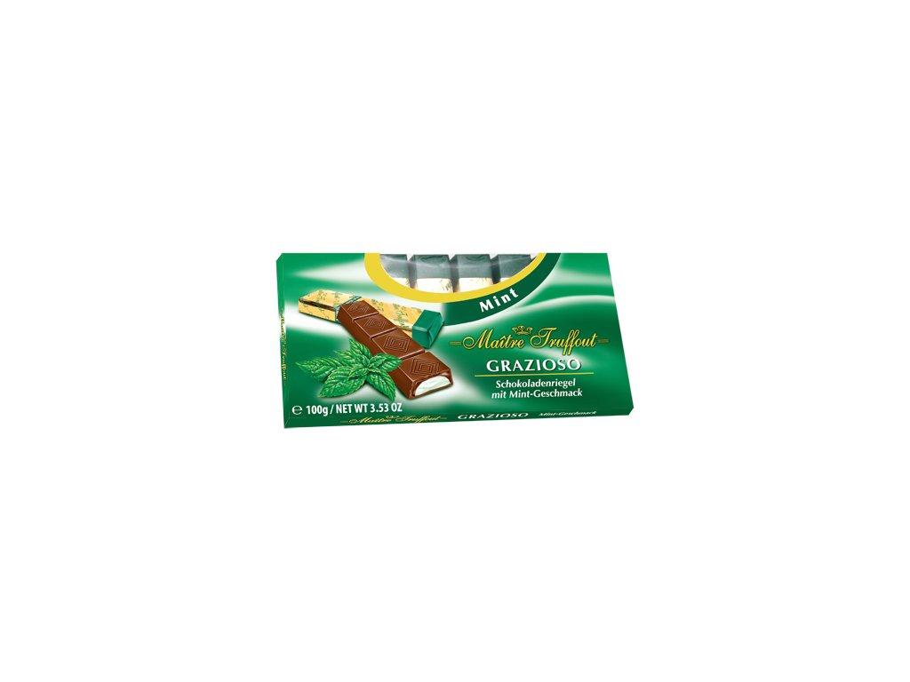 Maitre Truffout Grazioso Hořké čokoládové tyčinky plněné mátovou náplní 100g