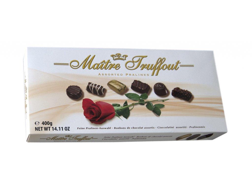Maitre Truffout Výběr pralinek v balení s růží 400g