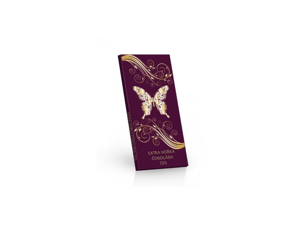 Čokoláda extra hořká 72% motiv motýl 100g