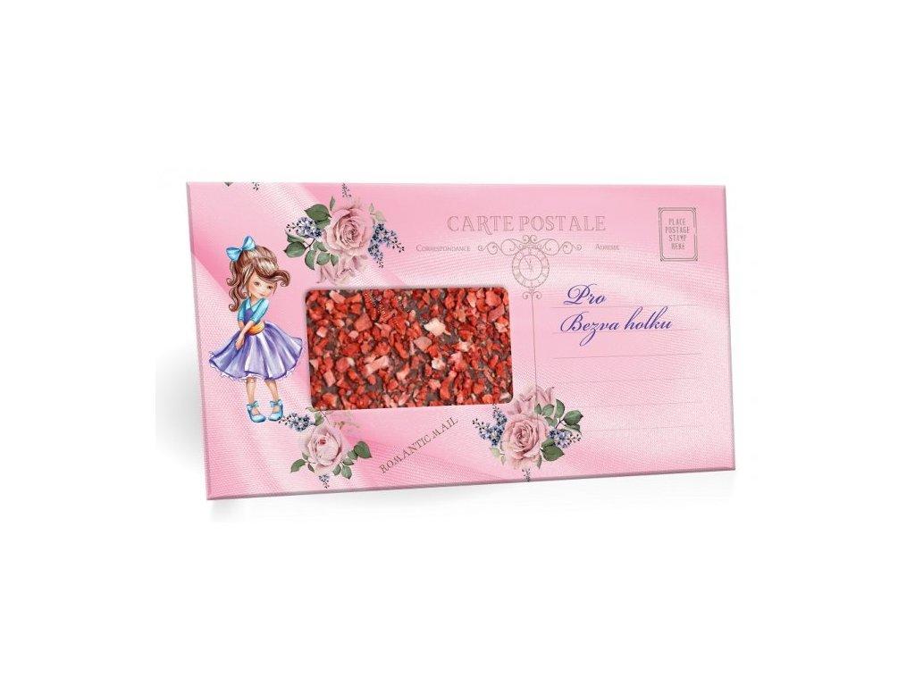 Pro bezva holku Mléčná čokoláda s jahodovým posypem 91,5g