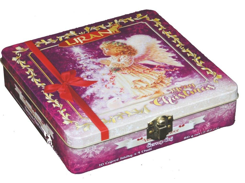 Liran Vánoční kolekce černých čajů Anděl plechová dóza 8x10x2g
