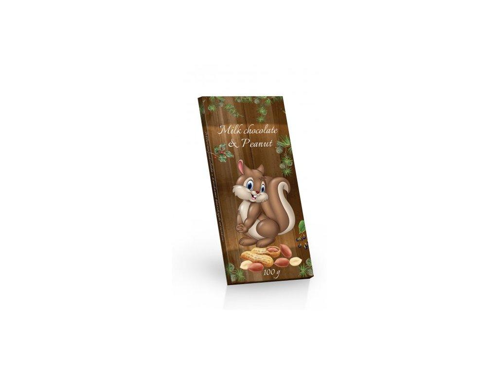 Mléčná čokoláda s arašídy motiv Veverka 100g