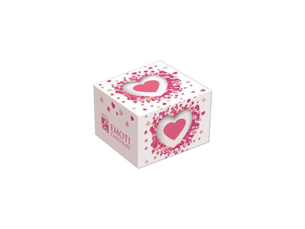 Belgická mléčná pralinka Solo 12g bílá krabička růžové plné srdíčko
