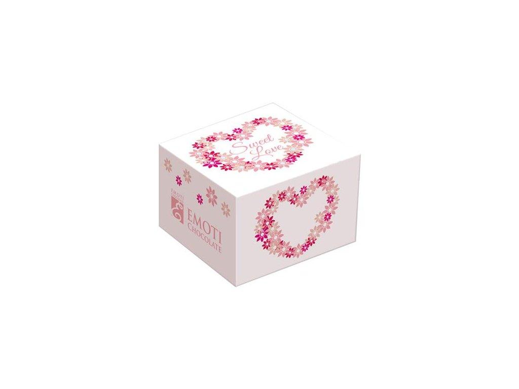 Emoti Mléčná pralinka bílá krabička, růžové květované srdíčko 12g