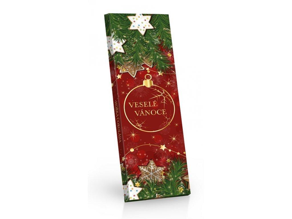 Vánoční hořká čokoláda s kousky brusinek a višní 225g (červená)