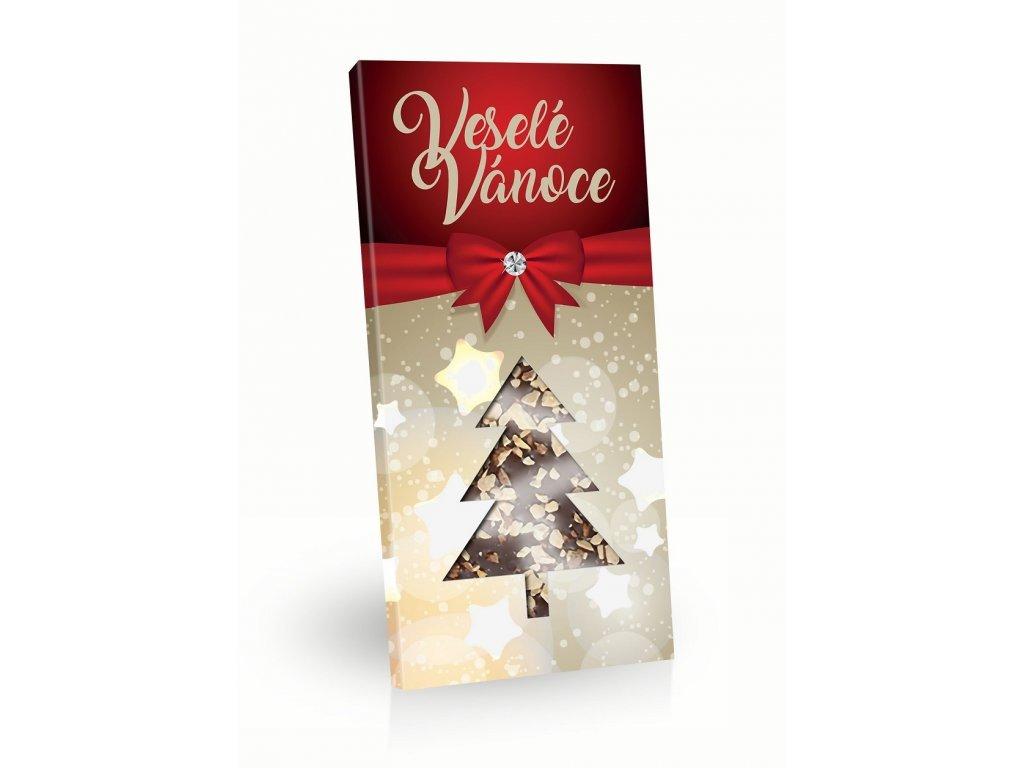 Merry Christmas Mléčná čokoláda s posypem mandle stromeček 100g