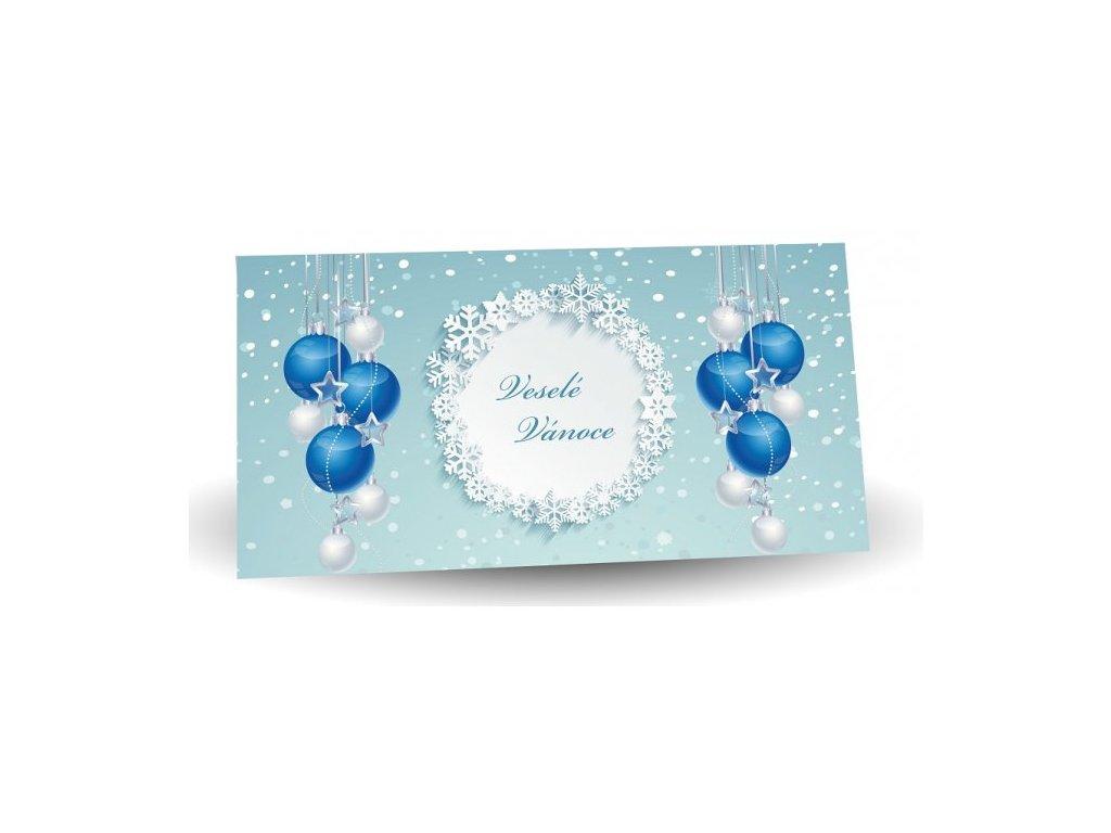 Veselé Vánoce mléčná čokoláda s mandlemi modré kouličky 175g