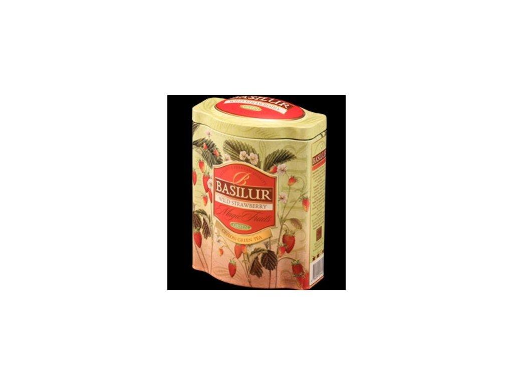 Basilur Wild Strawberry Zelený čaj s kousky třešně, lesní jahody plech 100g