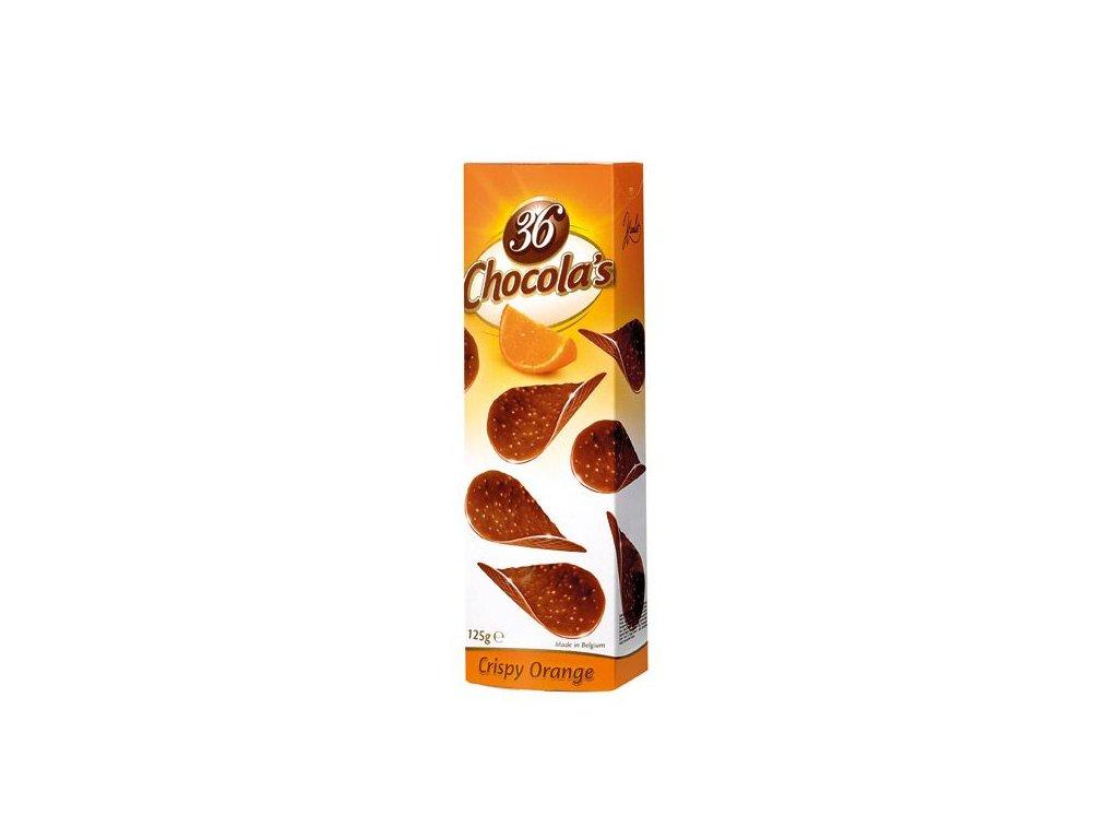 Chocola's Crispy Pomeranč - čokoládové chipsy z mléčné čokolády s kousky pomeranče 125g