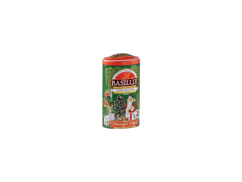 Basilur Vintage Christmas Tree plech Zelený čaj s příchutí 100g