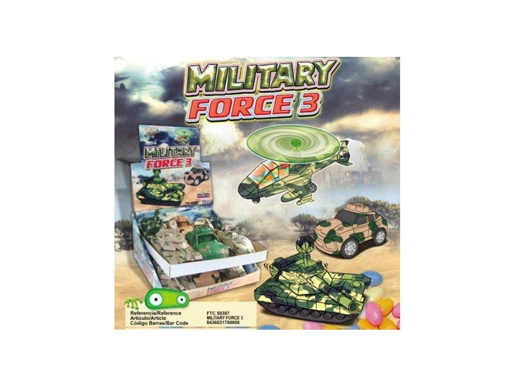 Military Force Vojenská kolekce aut s cukrovinkou 5g 12ks