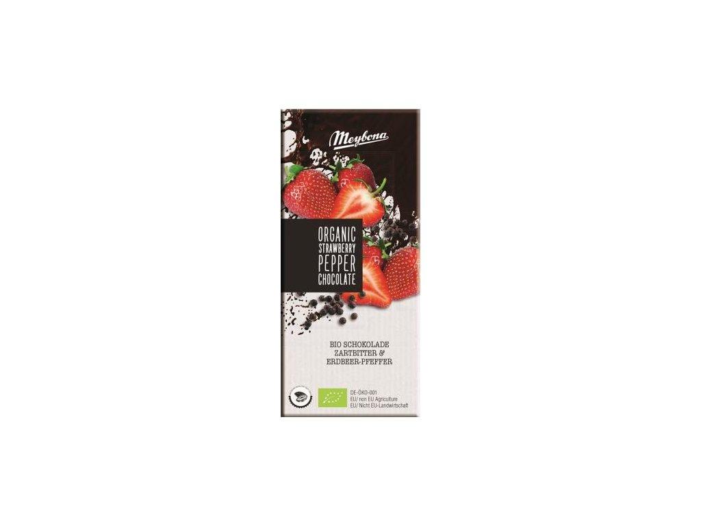 Meybona Bio hořká čokoláda s jahodou a pepřem 100g