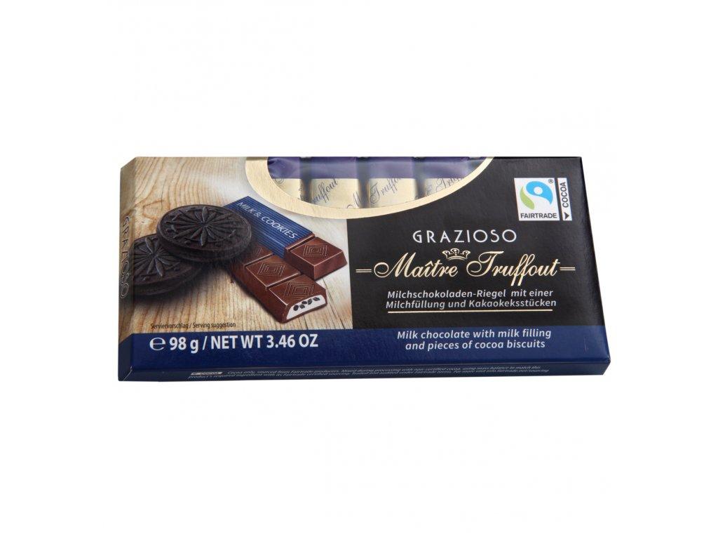 Maitre Truffout Grazioso Mléčná čokoláda s kousy kakaových sušenek 100g