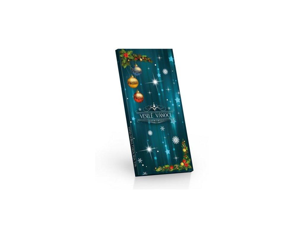Čokoláda Vánoce hořká 72 % 100 g Veselé Vánoce (modrá)