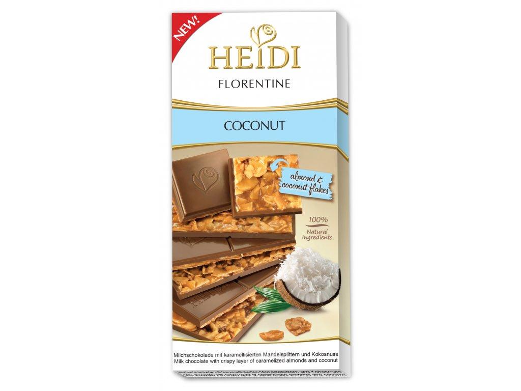 Heidi Florentine Coconut Mléčná čokoláda s karamelem, mandlemi a kokosové lupínky 100g