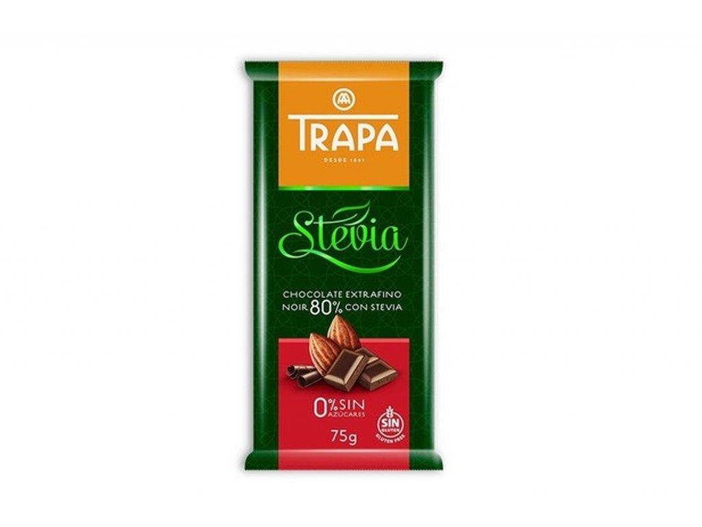 Trapa Hořká čokoláda (80%) se sladidlem 75g