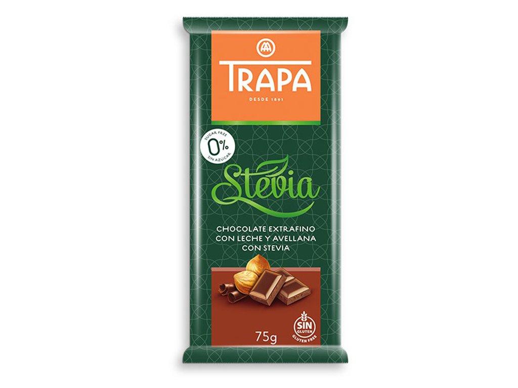 Trapa Mléčná čokoláda se stévií s lískovými oříšky 75g