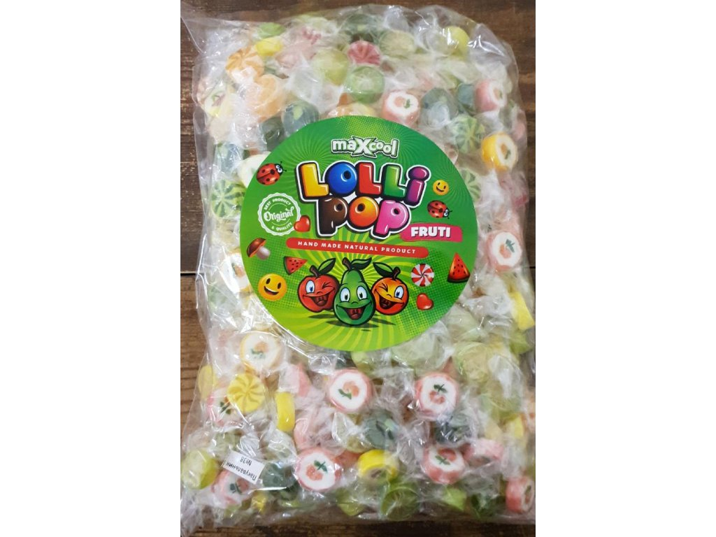 Maxcool Lollipop Ovocné Fruti bonbóny 1kg