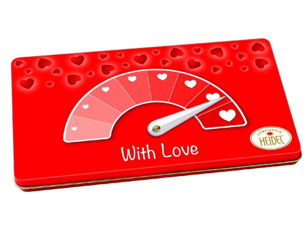 Heidel Dárkový plech mléčných čokolád Barometr lásky 90g