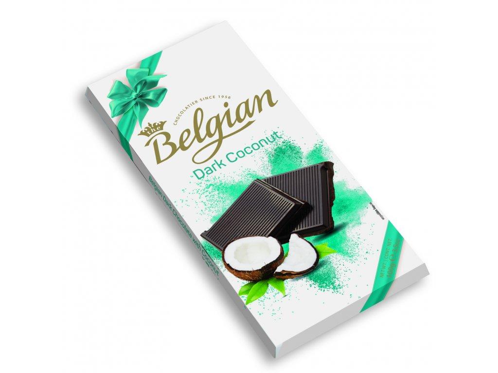 Belgian Dark Coconut Hořká čokoláda s kokosem 100g Záruka min.trv.5/21