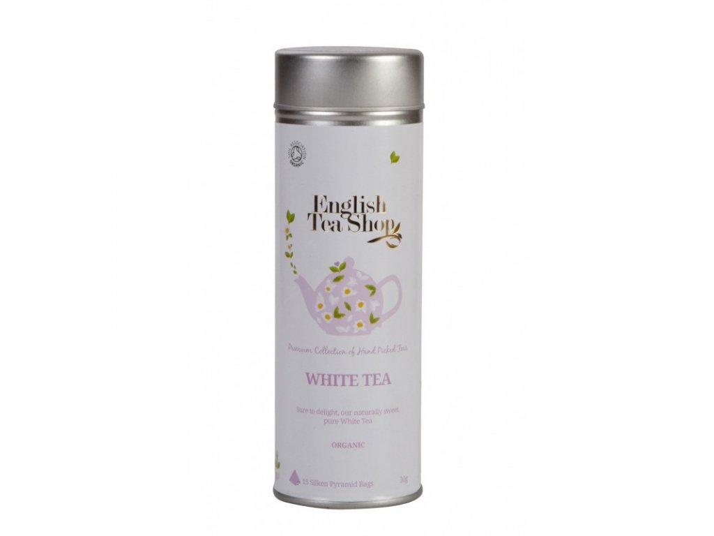 English Tea Shop 15 PYRAMIDKA ČISTĚ BÍLÝ Bio čaj plechová dóza