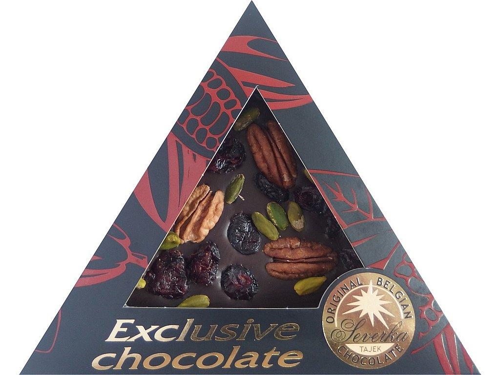 SEVERKA Hořká čokoláda s pekanovými ořechy, pistáciemi a klikvou 55g