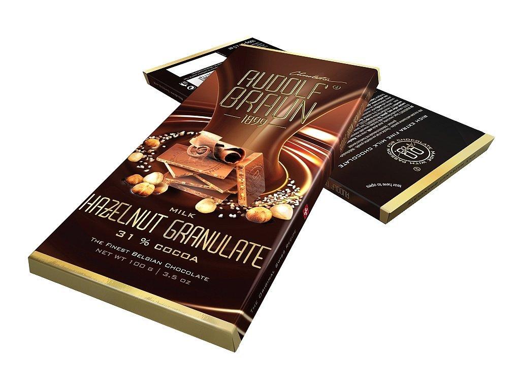 Rudolf Braun Belgická mléčná čokoláda s kousky lískových oříšků 31% 100g