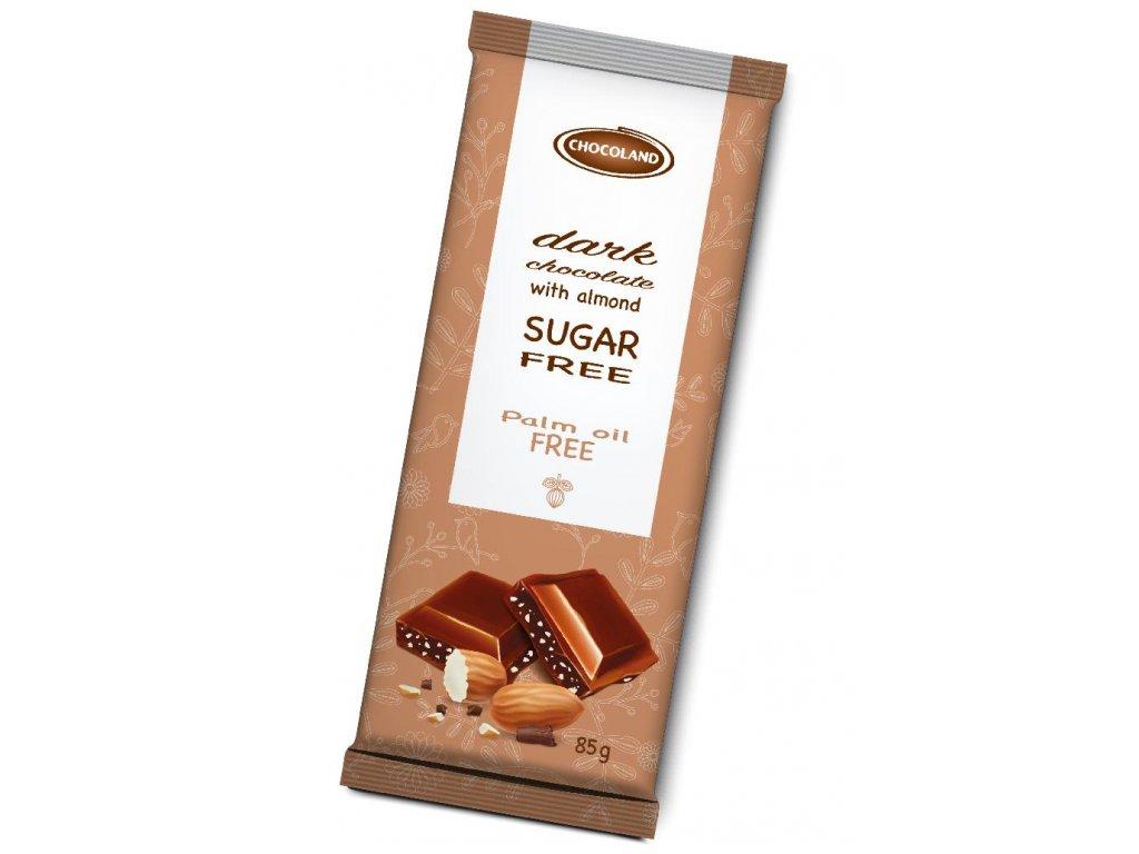 Chocoland Sugar free Hořká čokoláda s kousky mandlí bez cukru 85g