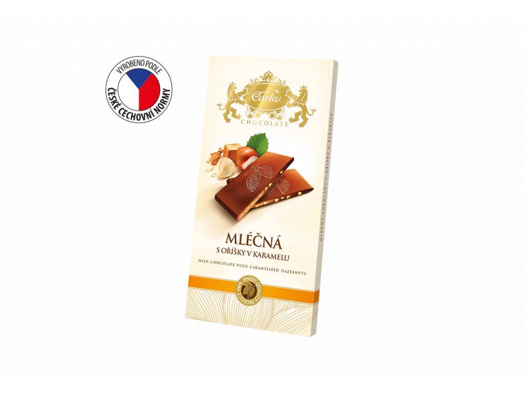 Carla Mléčná čokoláda s oříšky v karamelu 80g