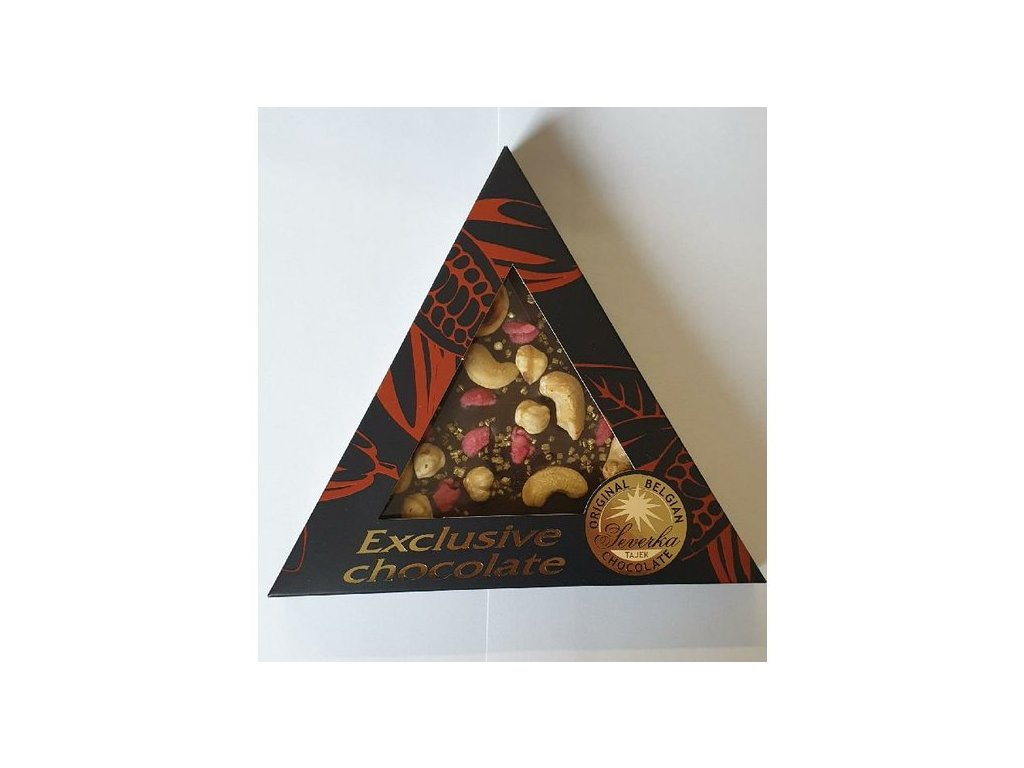 Severka Mléčná čokoláda s kešu ořšky,lískovými oříšky, růžemi a zlatými krystalky 50g